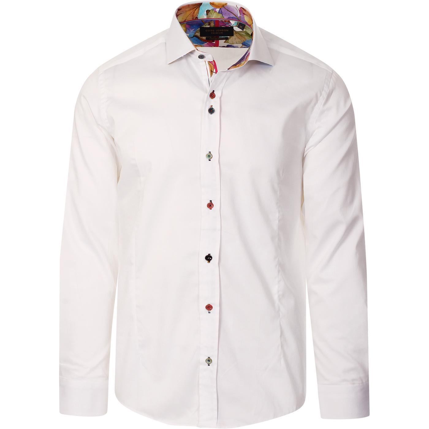 GUIDE LONDON Mod Multi Colour Button Smart Shirt