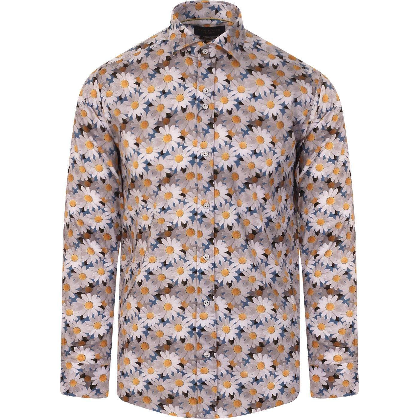 GUIDE LONDON 60s Mod Floral Daisy Print Shirt