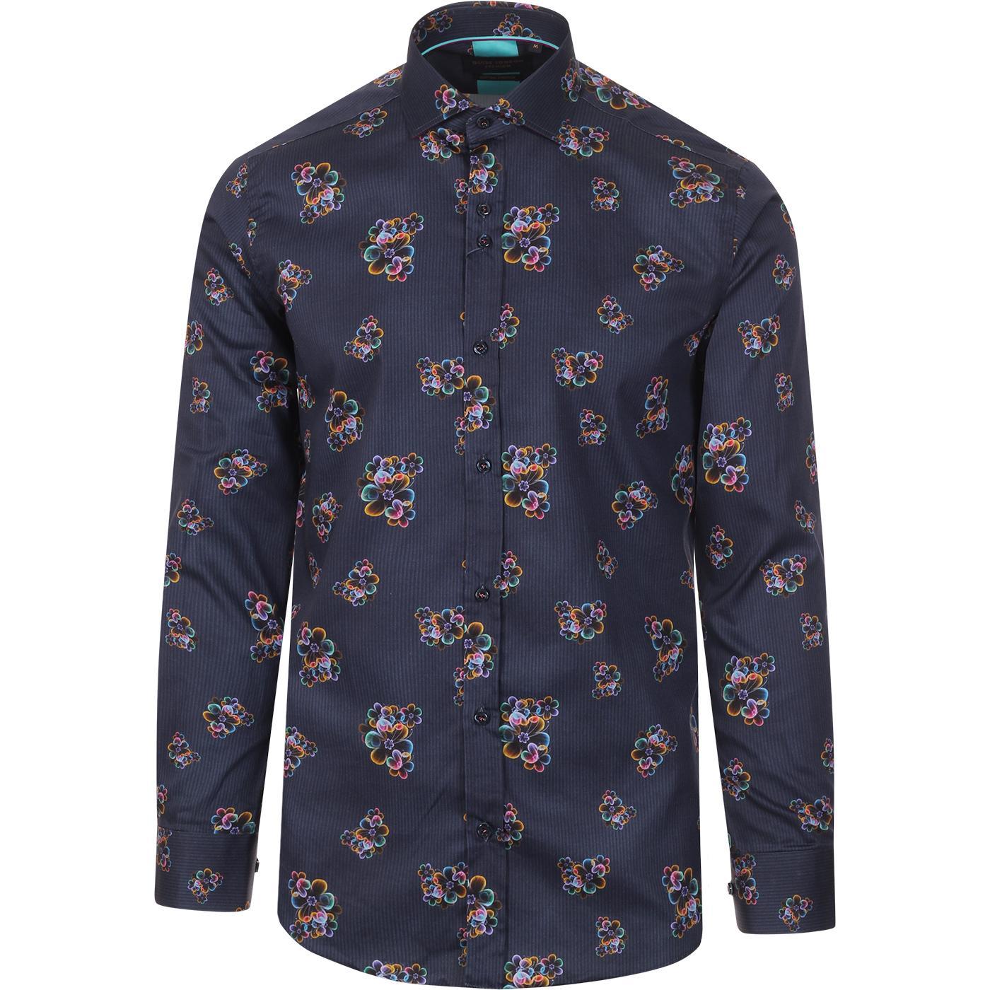 GUIDE LONDON Retro Mod Neon Floral Stripe Shirt