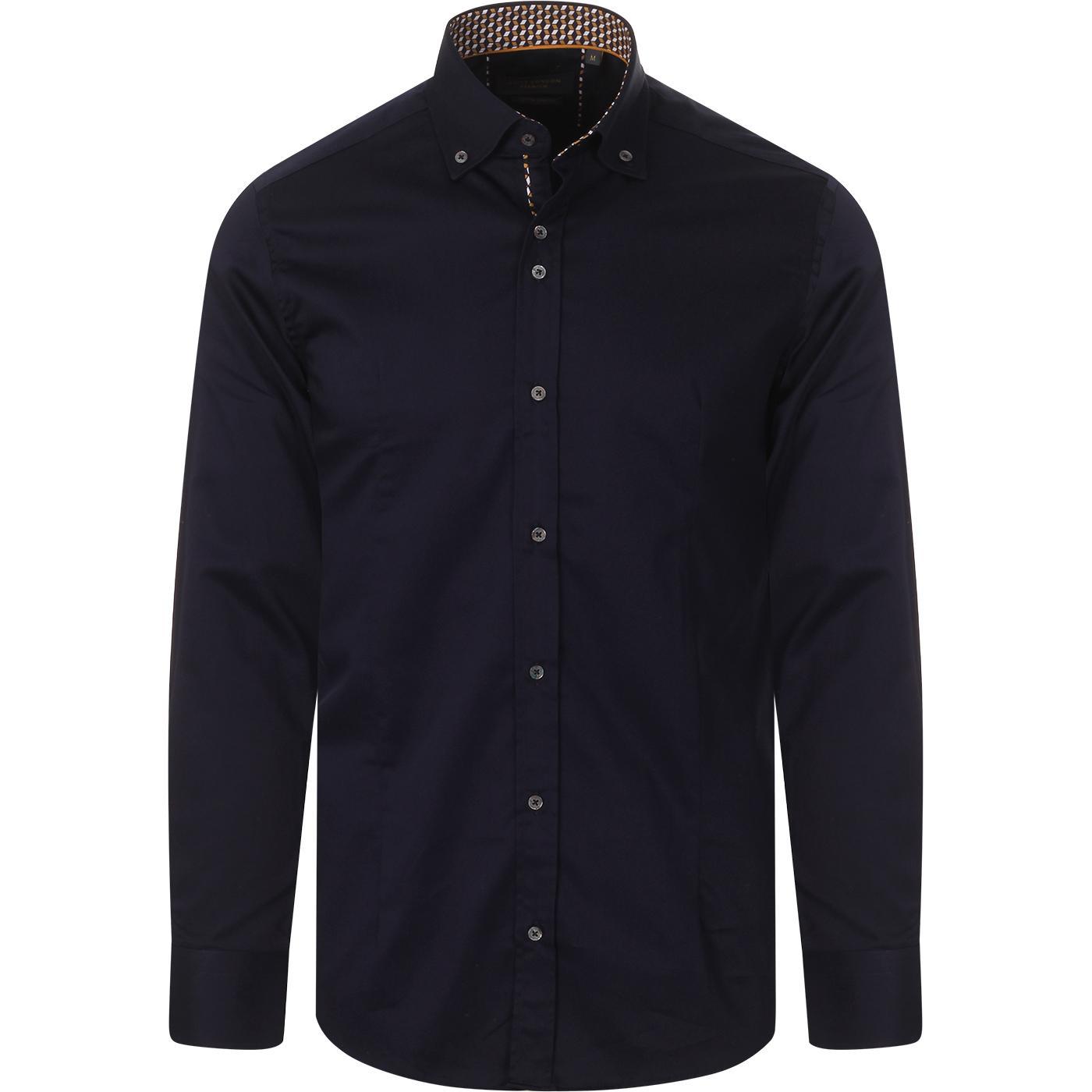 GUIDE LONDON Smart Plain BD Shirt w/ Geo Trim (N)