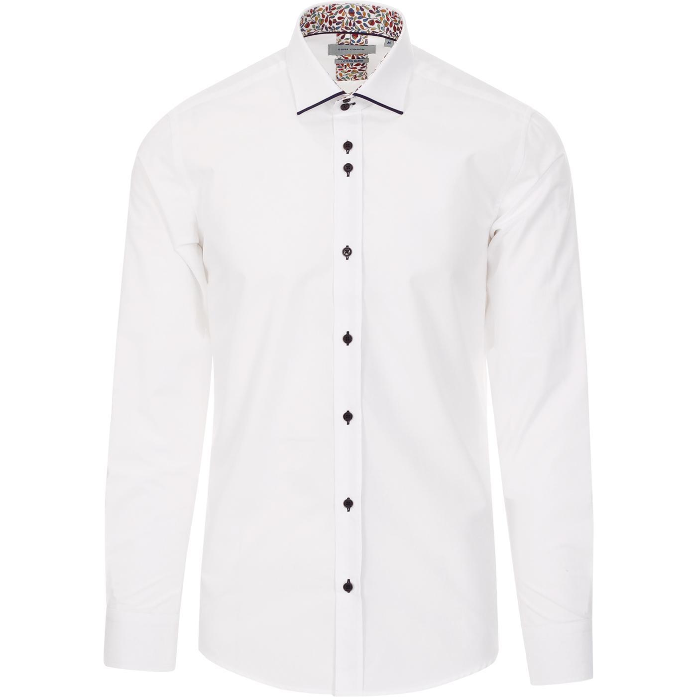 GUIDE LONDON 60s Mod Tipped Smart Shirt (White)
