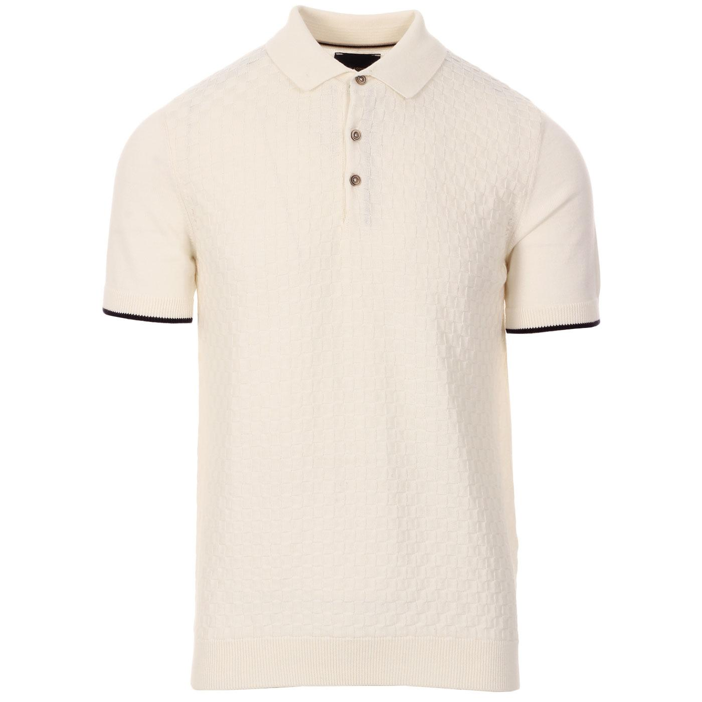 GUIDE LONDON 60s Mod Basket Weave Knit Polo Top OW