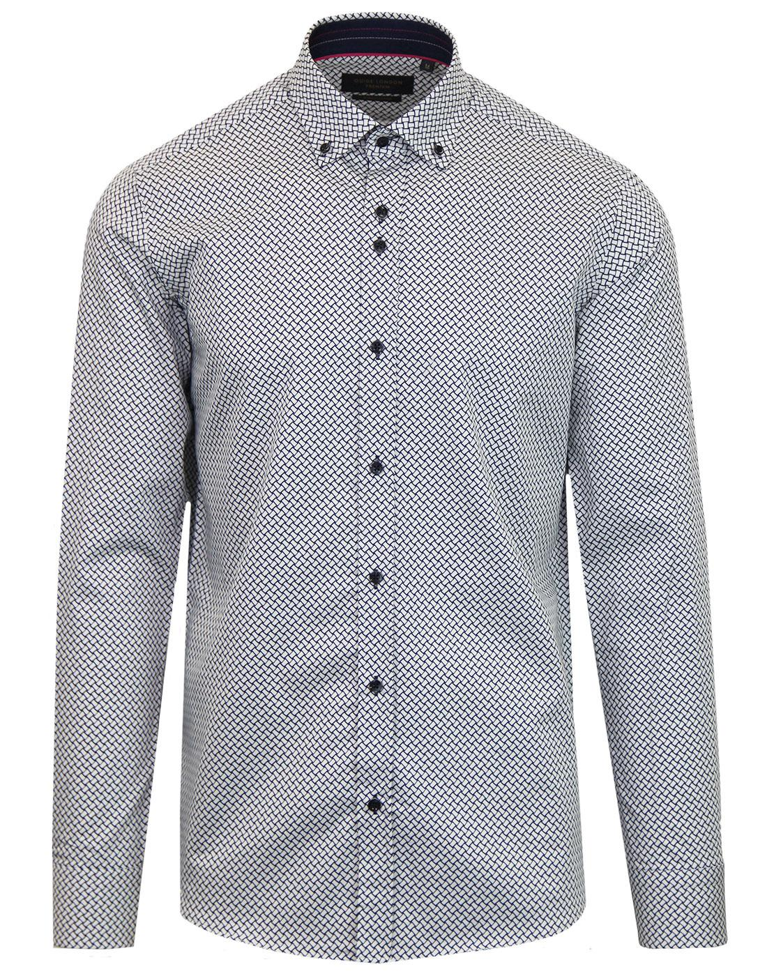 GUIDE LONDON Retro Mod Basket Weave Print Shirt