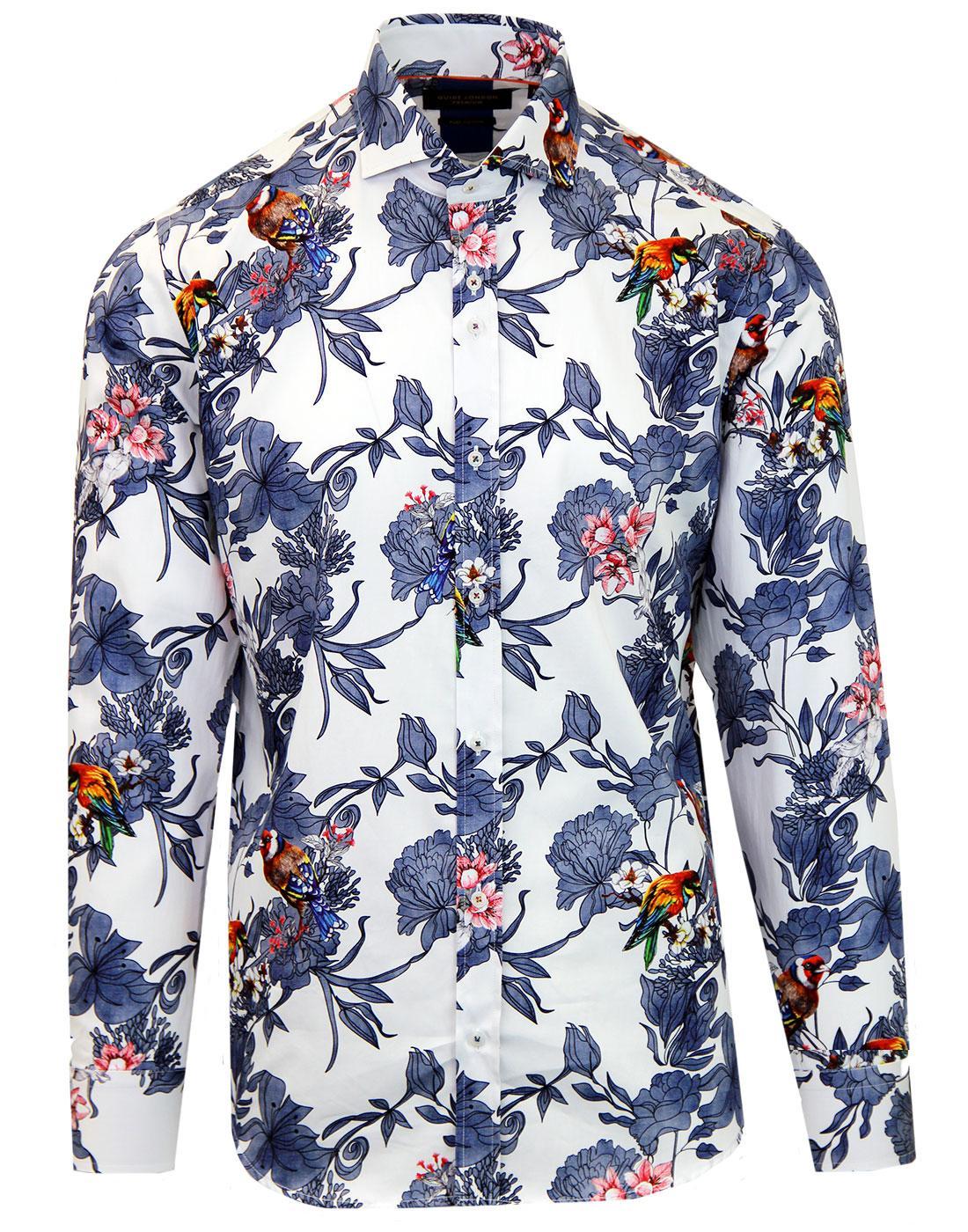 GUIDE LONDON Retro Mod Floral Bird Print Shirt
