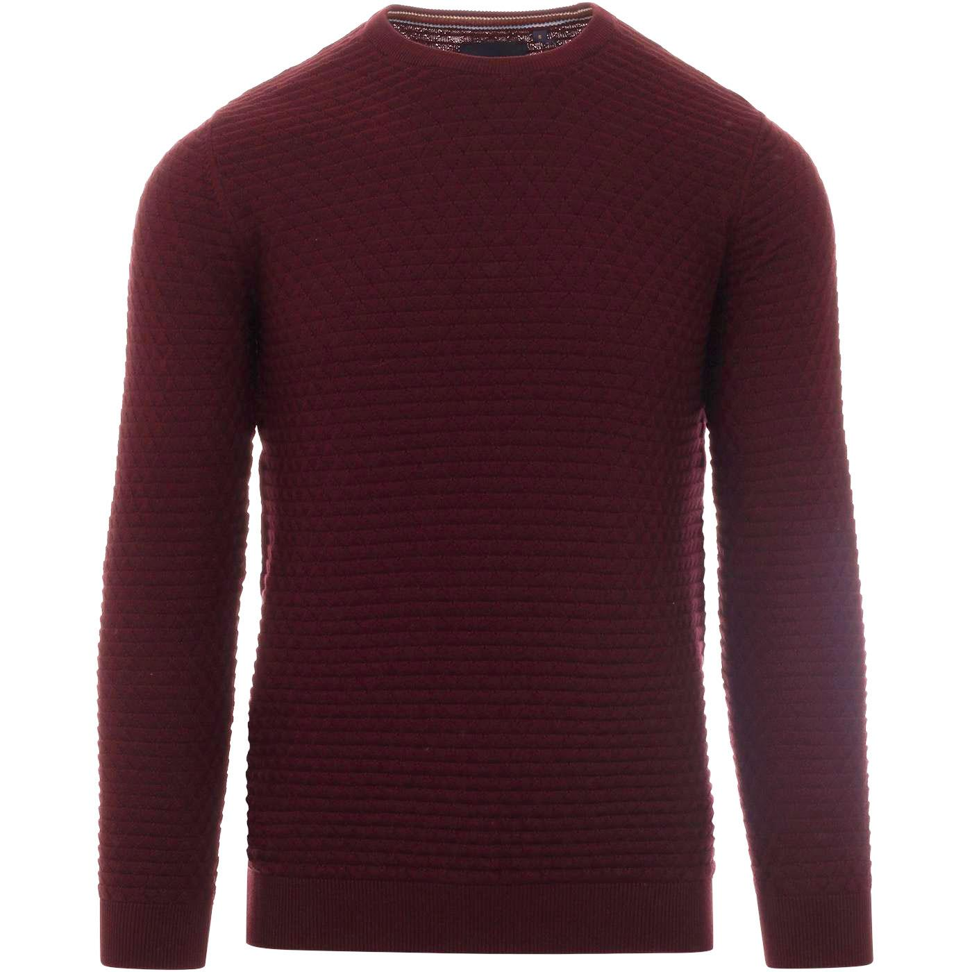 GUIDE LONDON Retro Mod Diamond Waffle Knit Jumper