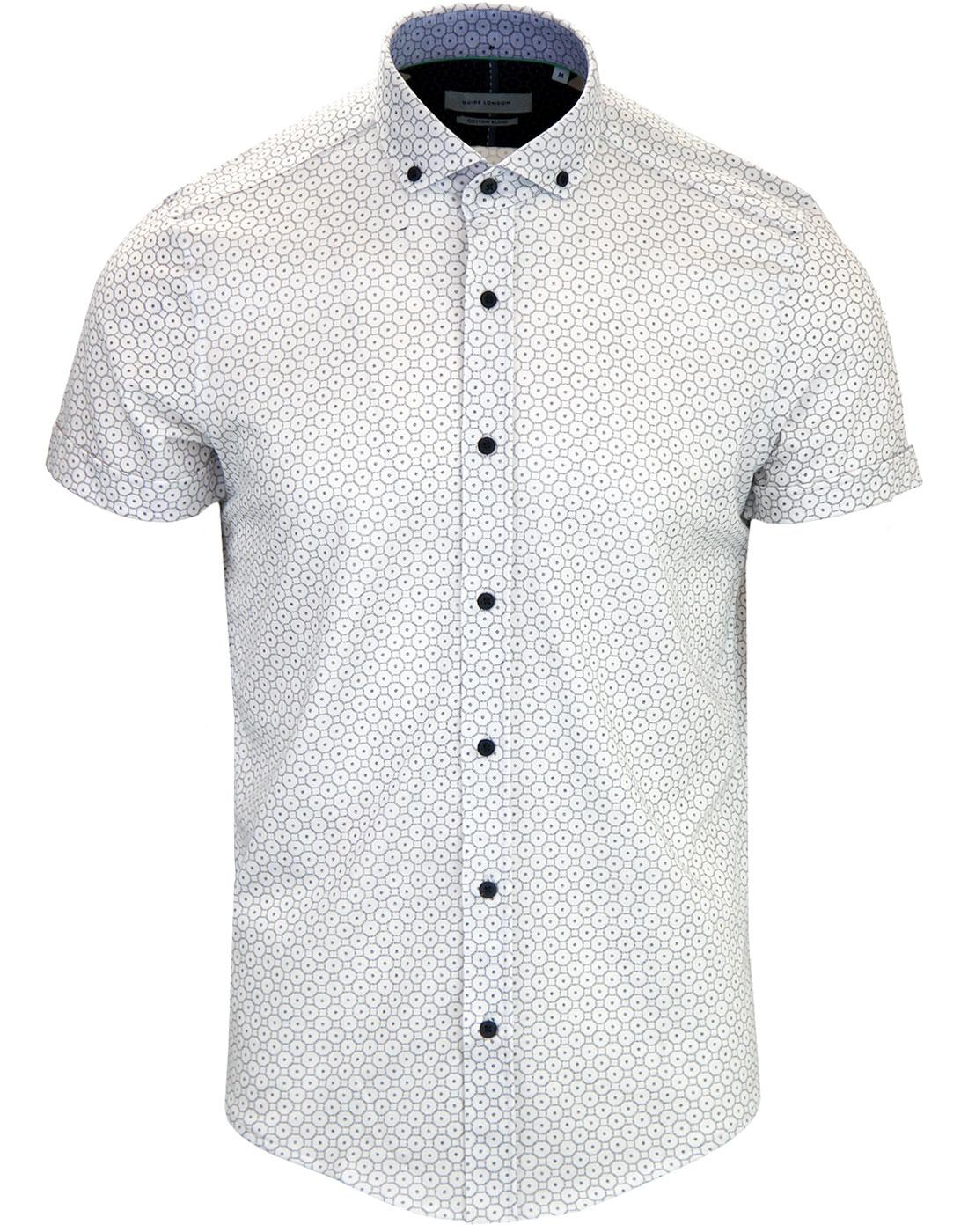 GUIDE LONDON Retro 60's Op Art Pique Shirt WHITE