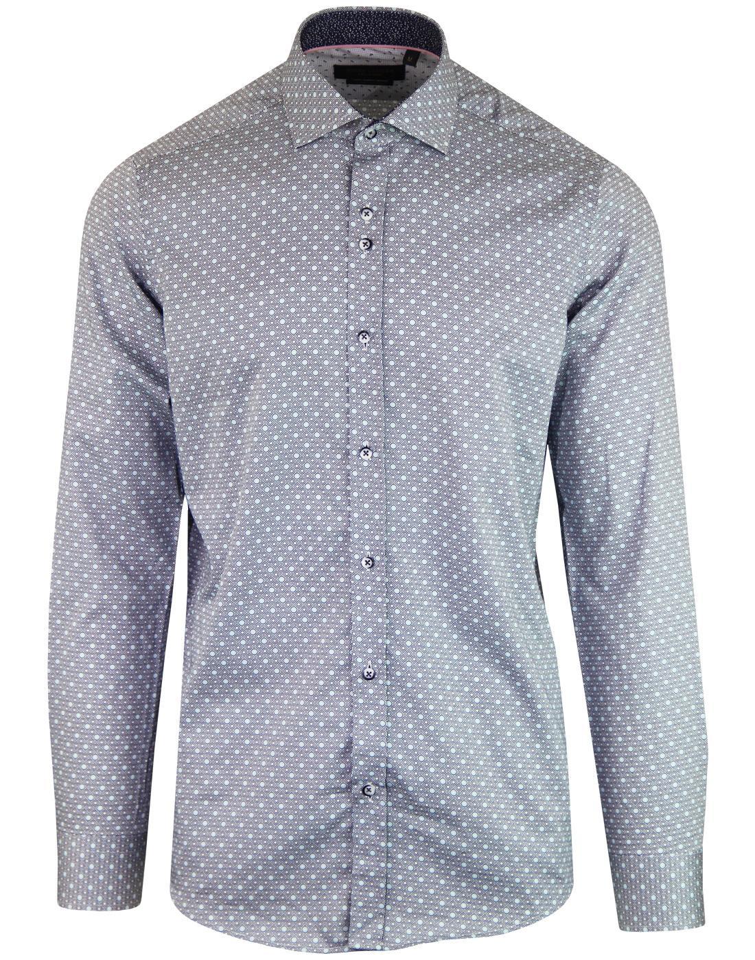 GUIDE LONDON 60s Mod Geo Honeycomb Bubble Shirt