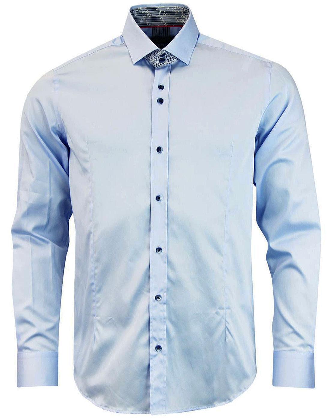 GUIDE LONDON Mod Floral Stripe Trim Plain Shirt