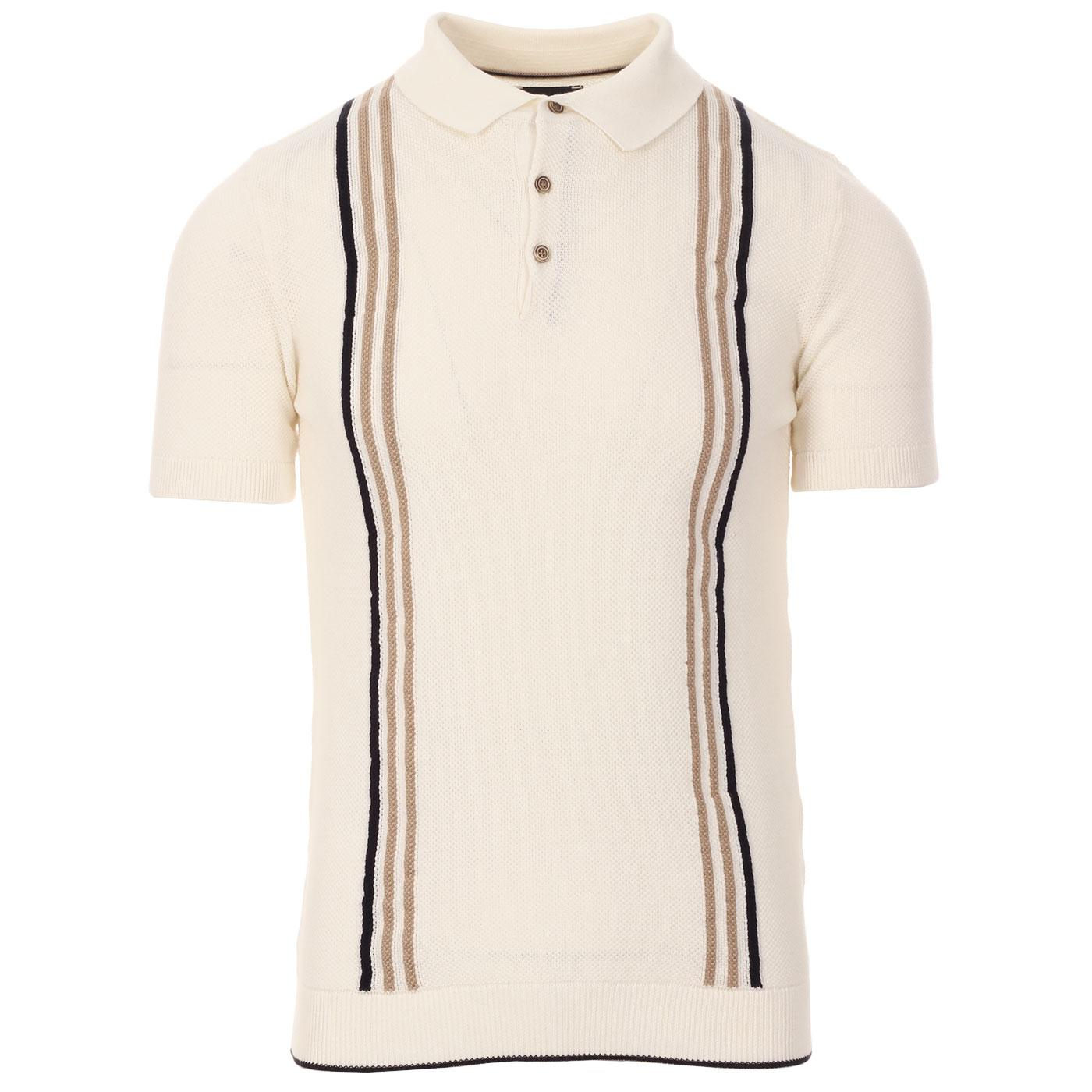 GUIDE LONDON 60s Mod Stripe Waffle Knit Polo (OW)