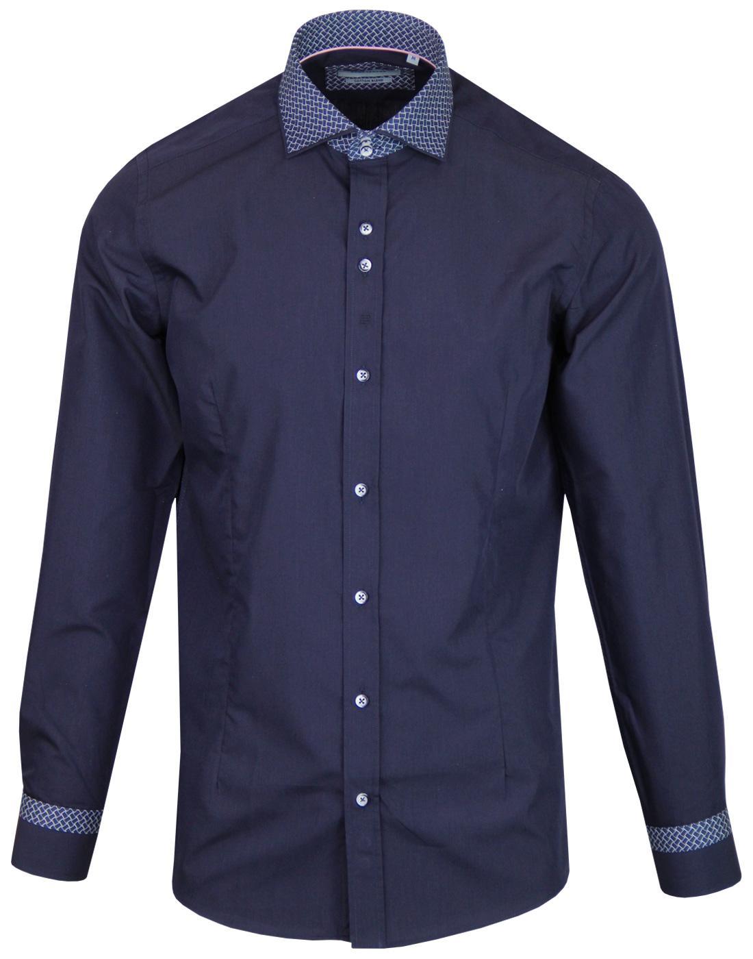 GUIDE LONDON Retro Mod Weave Collar Print Shirt N
