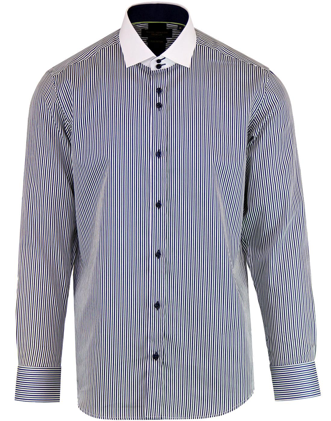 GUIDE LONDON Retro Contrast Collar Stripe Shirt G