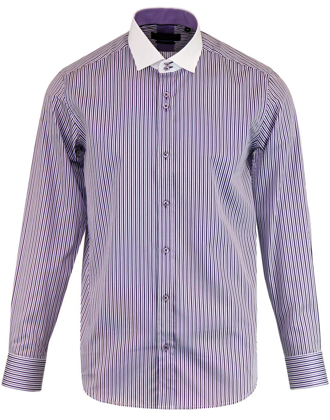 GUIDE LONDON Retro Contrast Collar Stripe Shirt L