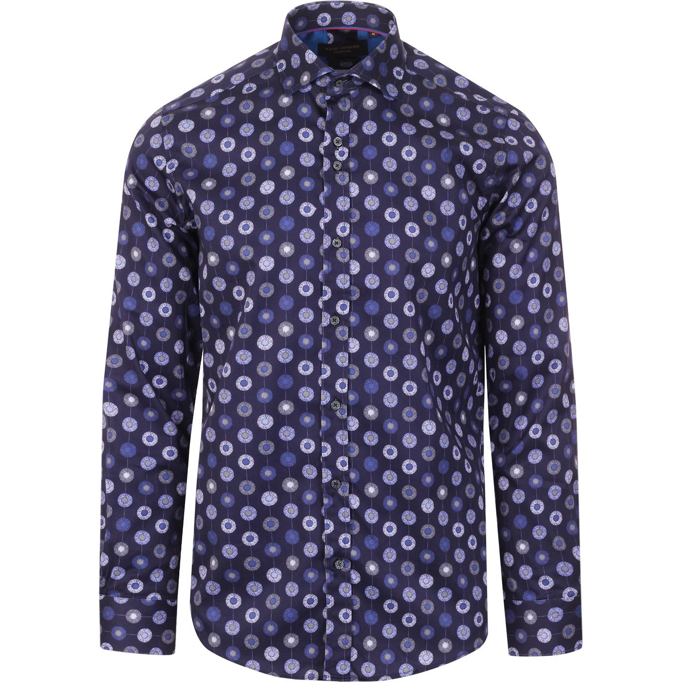 GUIDE LONDON Retro Painted Pinstripe Floral Shirt