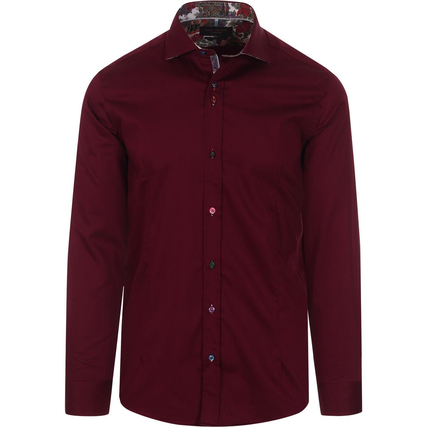 GUIDE LONDON Classic Mod Plain Shirt (Burgundy)