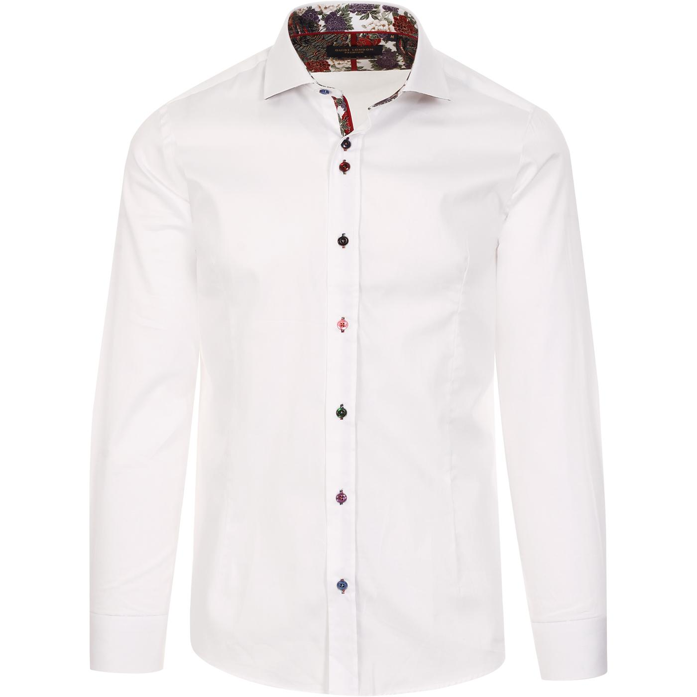 GUIDE LONDON Classic 60s Mod Plain Shirt (White)