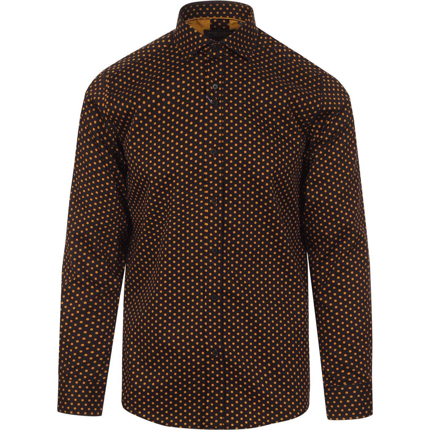 GUIDE LONDON 60s Mod Polka Dot Shirt (Black/Tan)