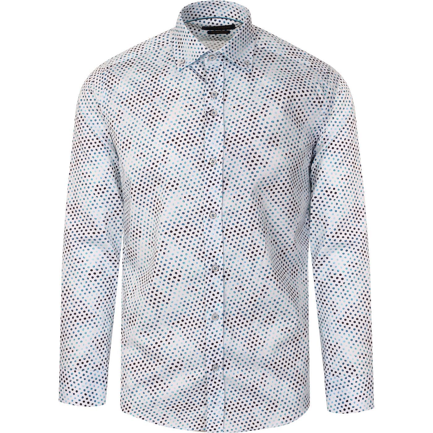 GUIDE LONDON Smudgy Polka Dot 60s Mod Shirt