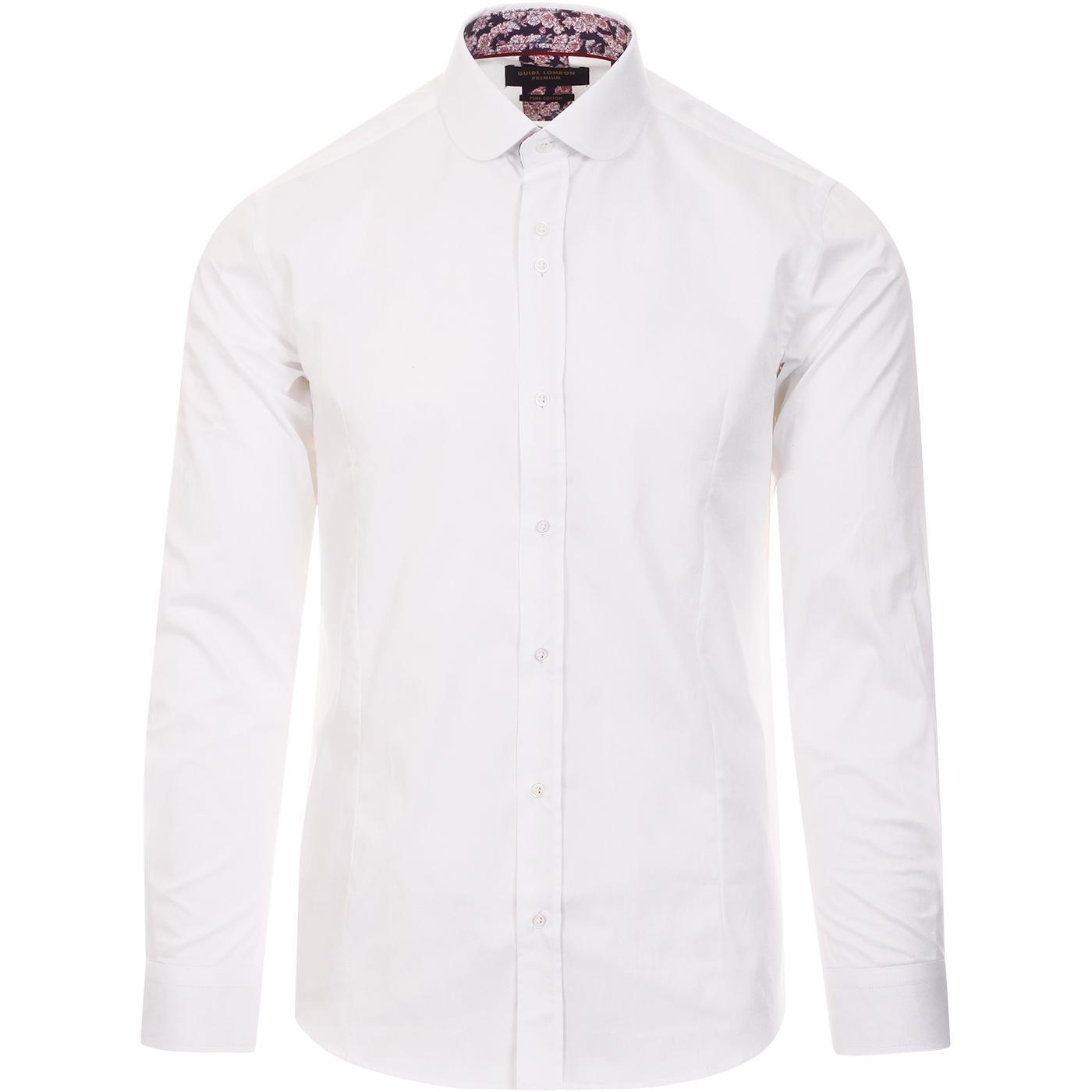 GUIDE LONDON 1960s Mod Round Collar Shirt (White)