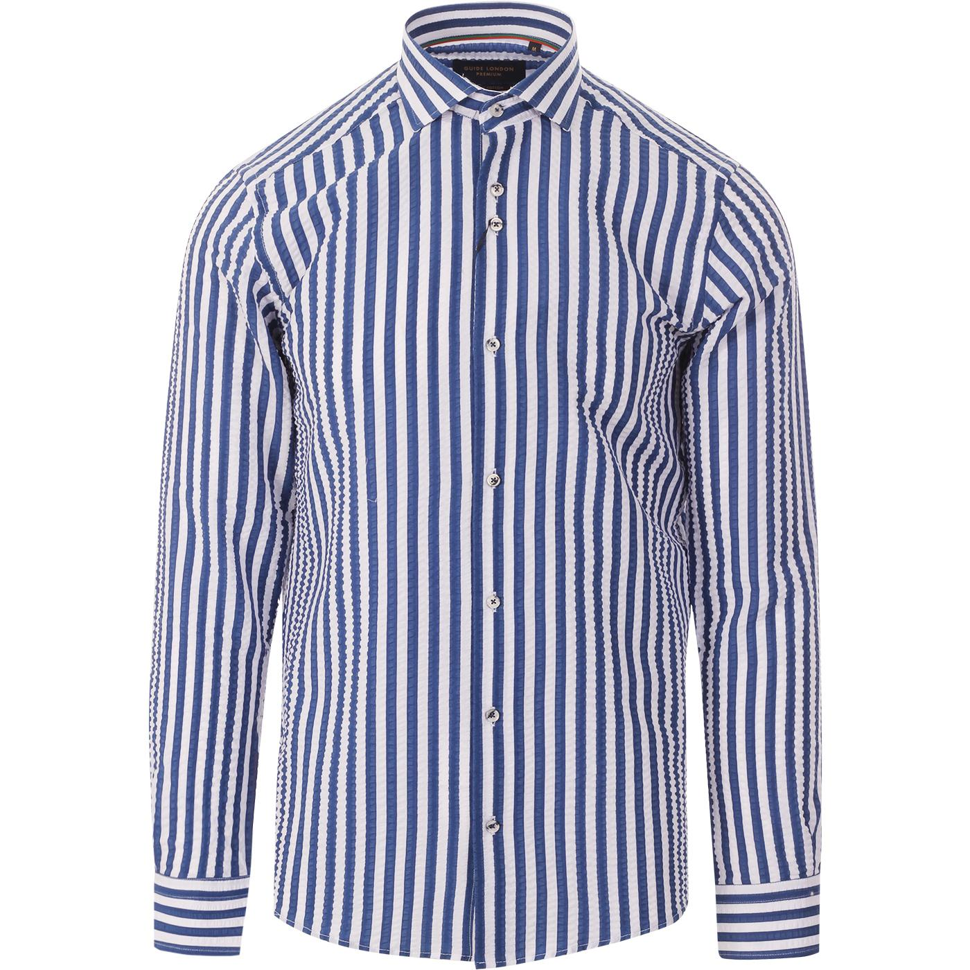 GUIDE LONDON 60s Mod Stripe Seersucker Shirt (W/B)