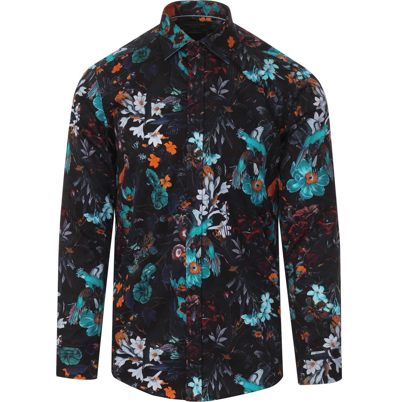 GUIDE LONDON Retro Mod Floral Bird Print Shirt (N)