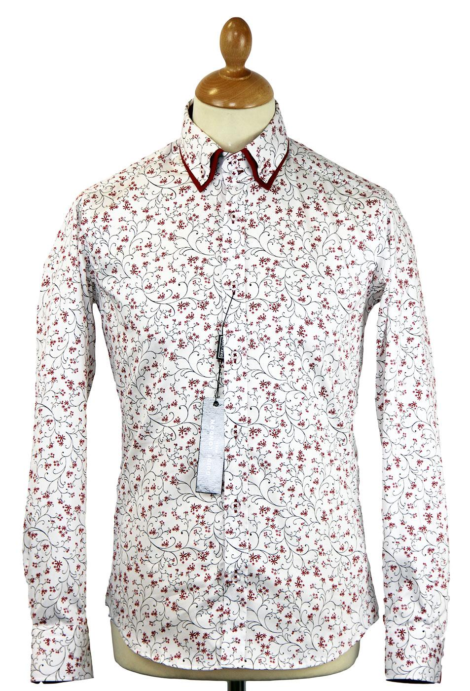 Floral Scroll GUIDE LONDON Retro Mod Smart Shirt