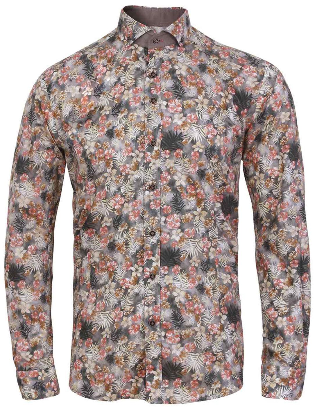 Autumn Floral GUIDE LONDON Retro 60s Mod Shirt