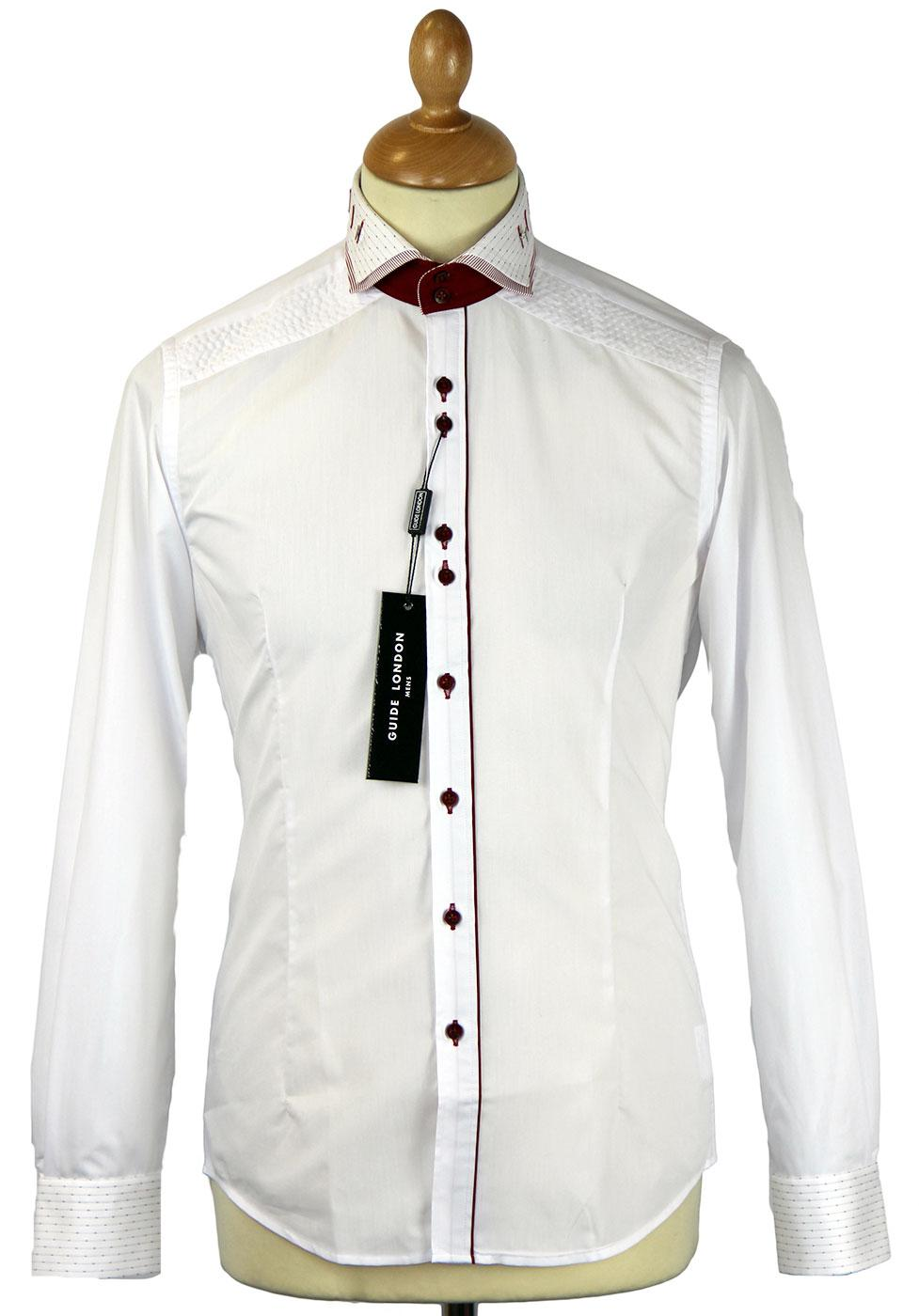 GUIDE LONDON Retro Mod Dobby Stripe Trim Shirt (W)