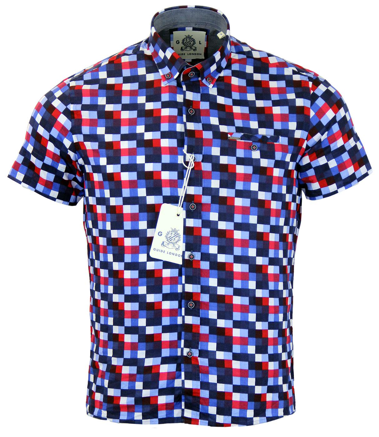 GUIDE LONDON Retro Mod Colour Block Check Shirt