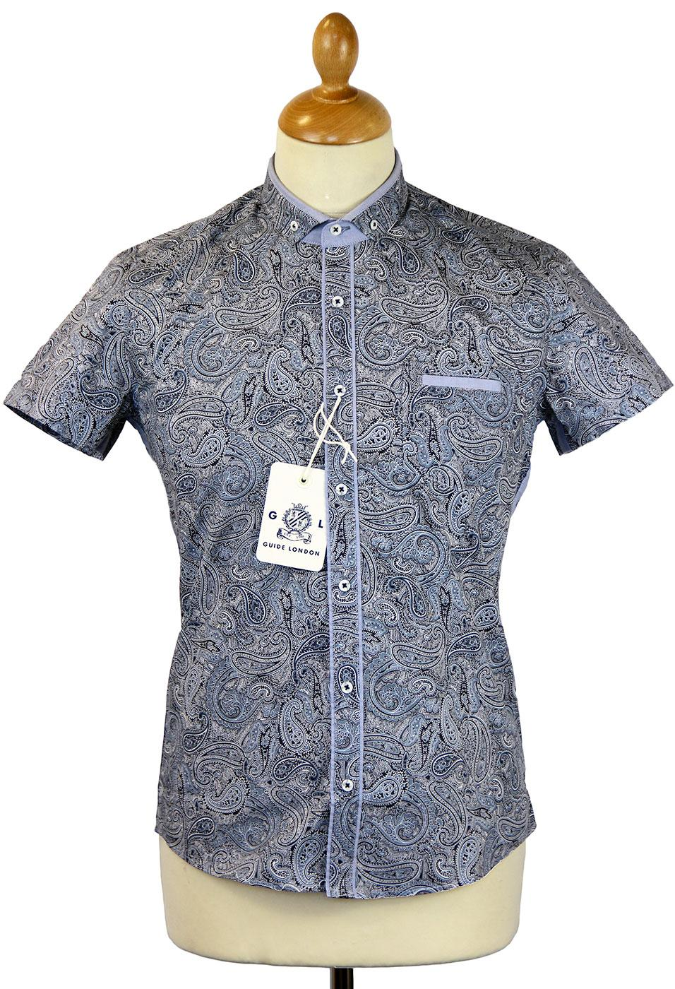 Paisley S/S GUIDE LONDON Retro Mod Casual Shirt
