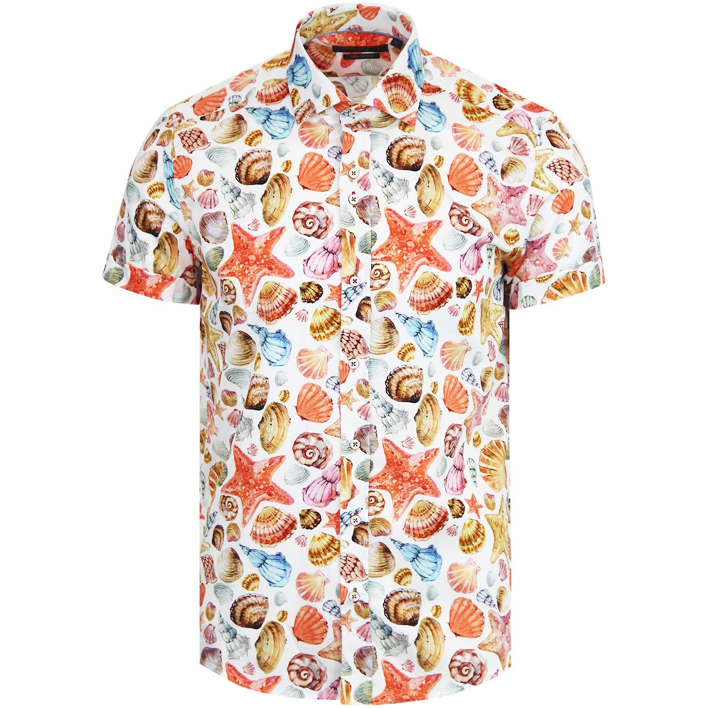 GUIDE LONDON Retro Seashell Print Retro Mod Shirt