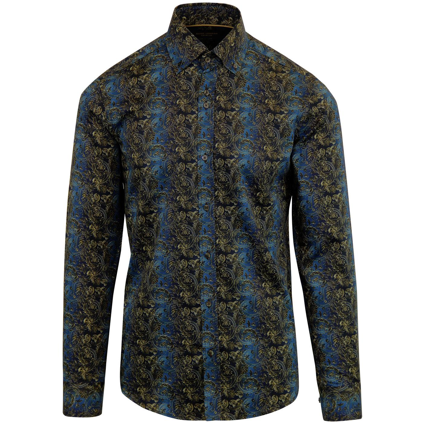 GUIDE LONDON Men's Retro Mod Sateen Paisley Shirt