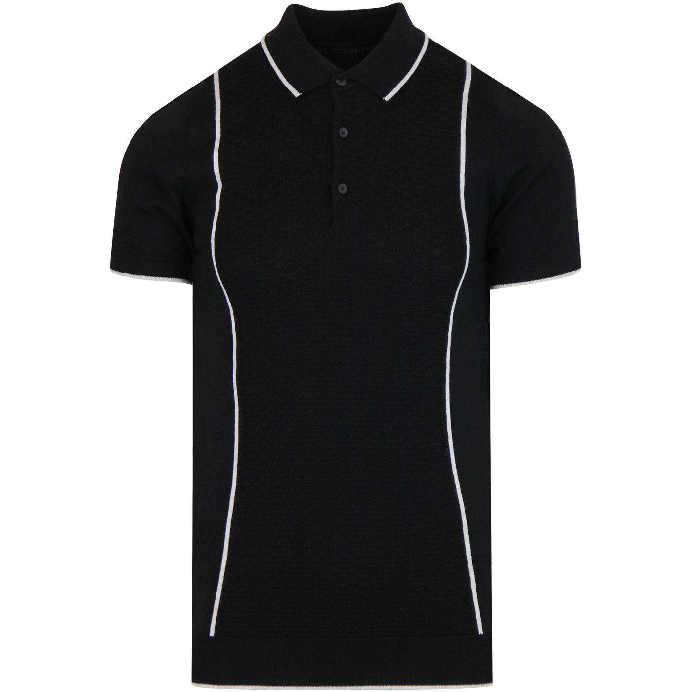 GUIDE LONDON Textured Panel Knitted Mod Polo BLACK