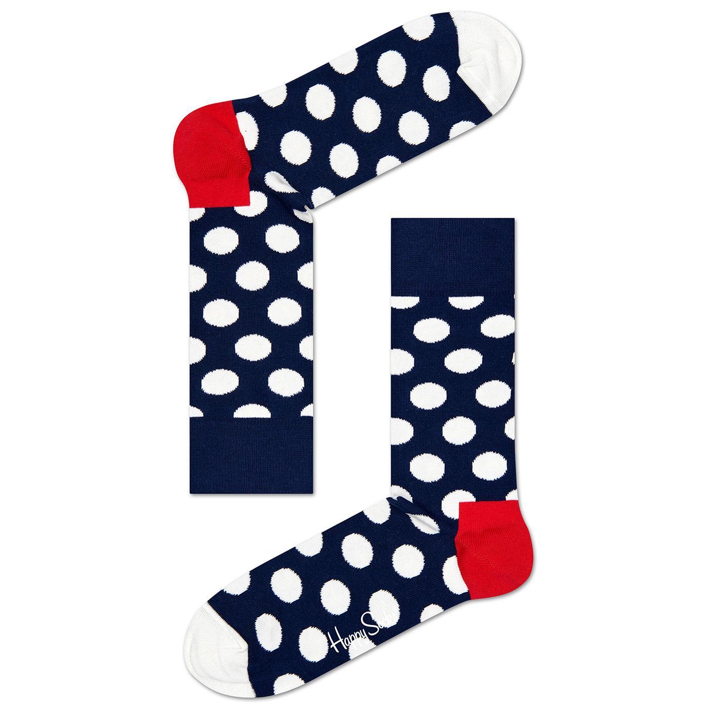 + Big Dot HAPPY SOCKS Retro Polka Dot Socks (Navy)