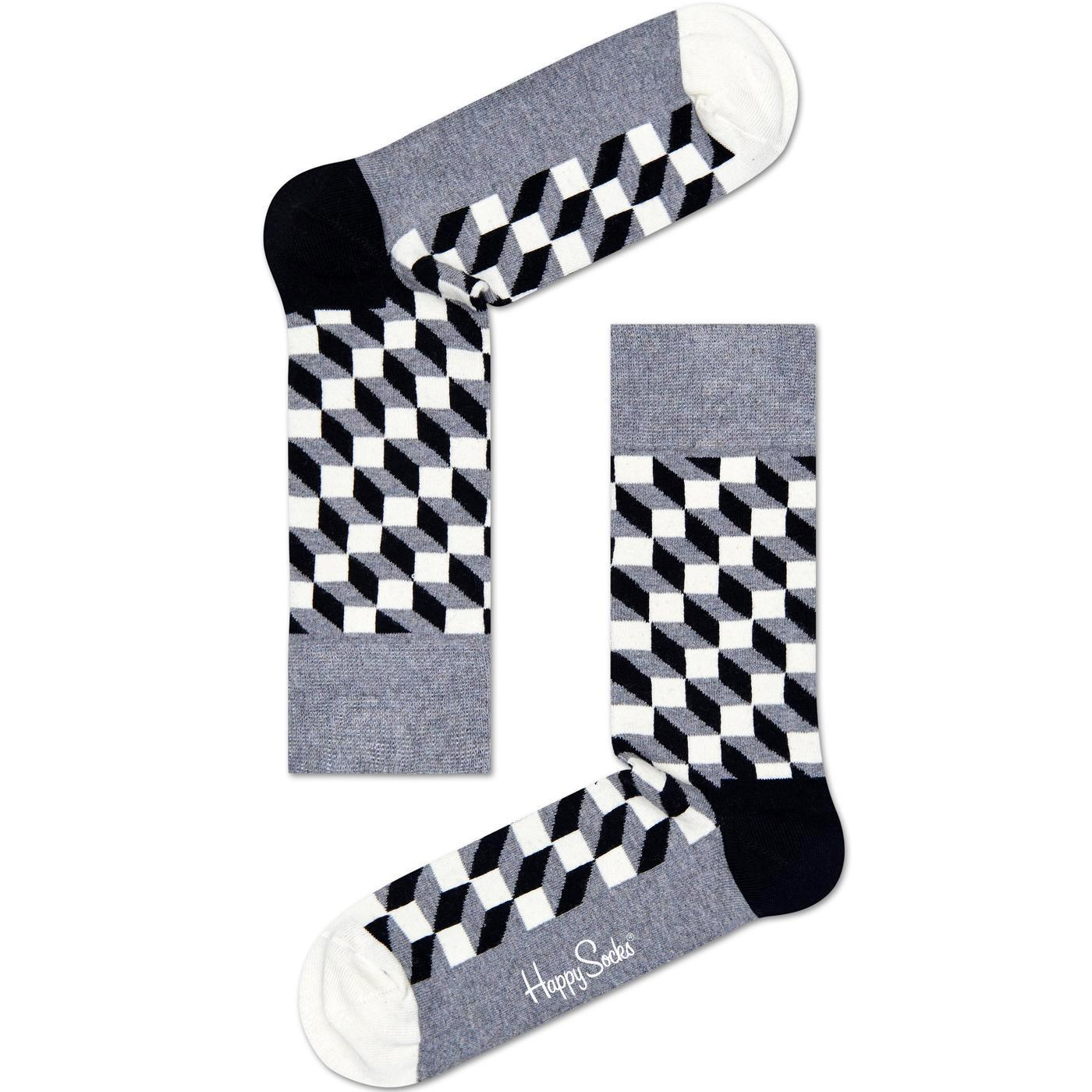 + Filled Optic HAPPY SOCKS Women's Cube Socks B/G