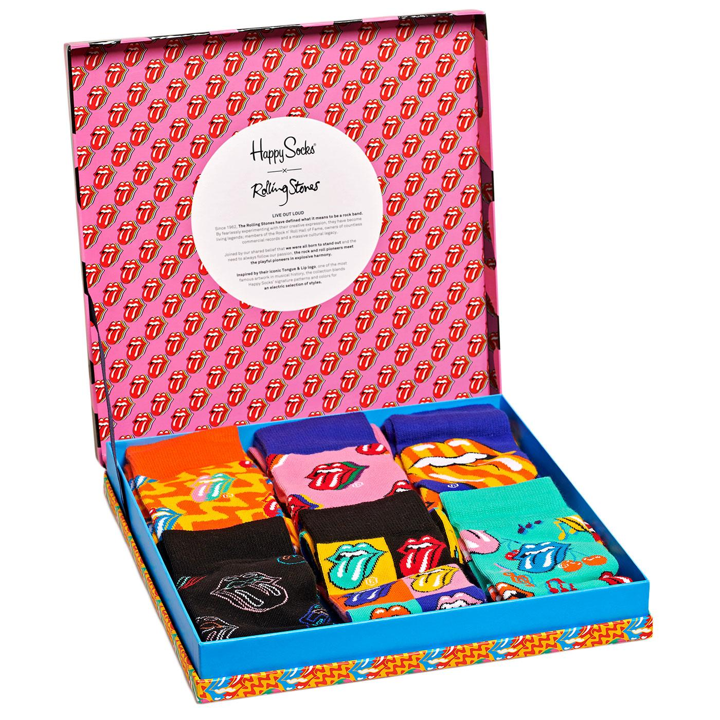 + HAPPY SOCKS x ROLLING STONES 6 Sock Gift Box