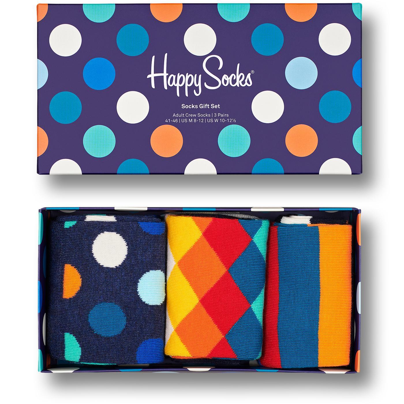 + HAPPY SOCKS Big Dot Diamond 3 Pack Sock Gift Set