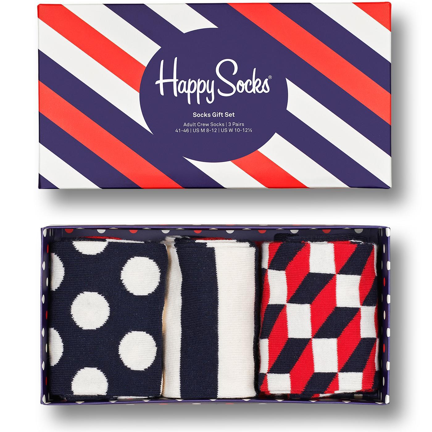 +HAPPY SOCKS Big Dot & Stripe 3 Pack Sock Gift Set