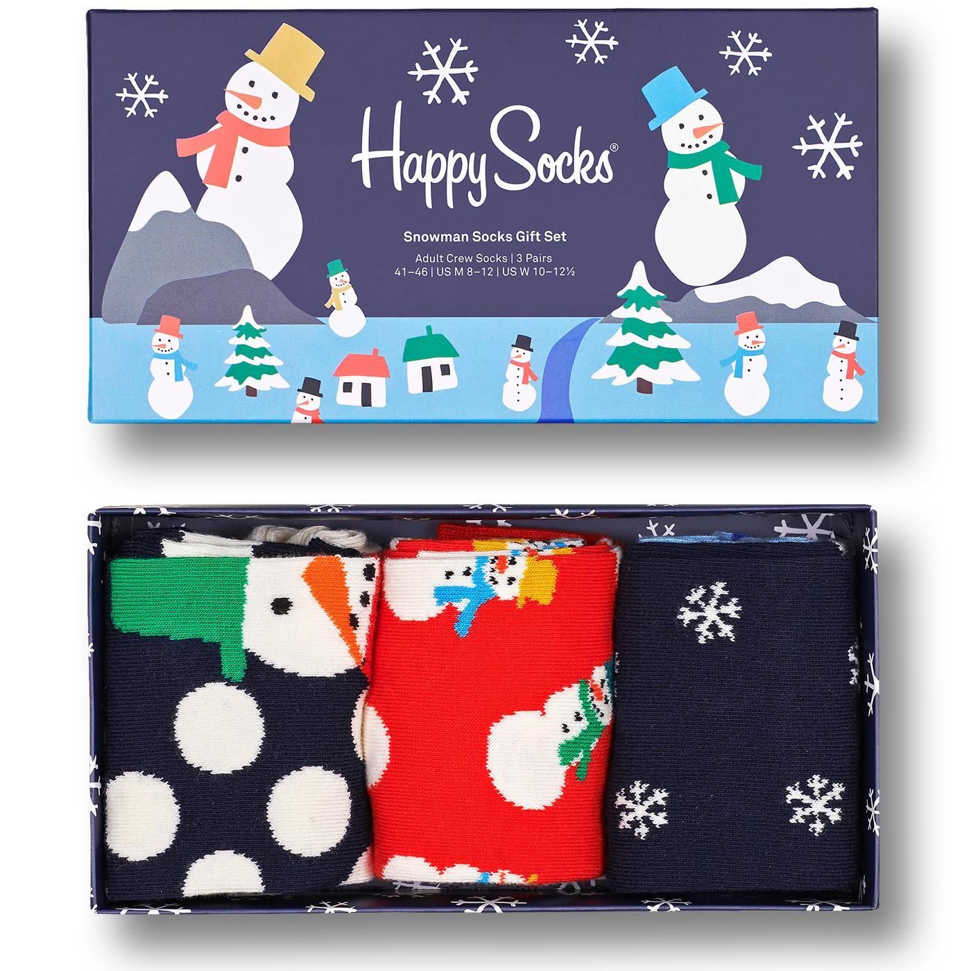 + HAPPY SOCKS 3 Pack Snowman Socks Gift Set