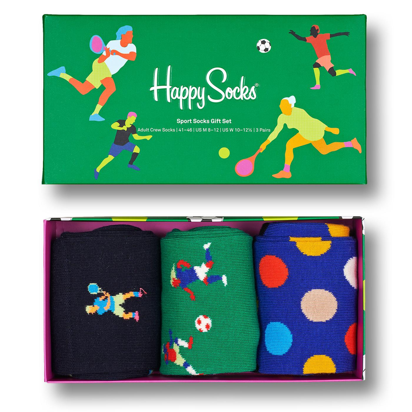 + HAPPY SOCKS 3 Pack Sports Socks Gift Set