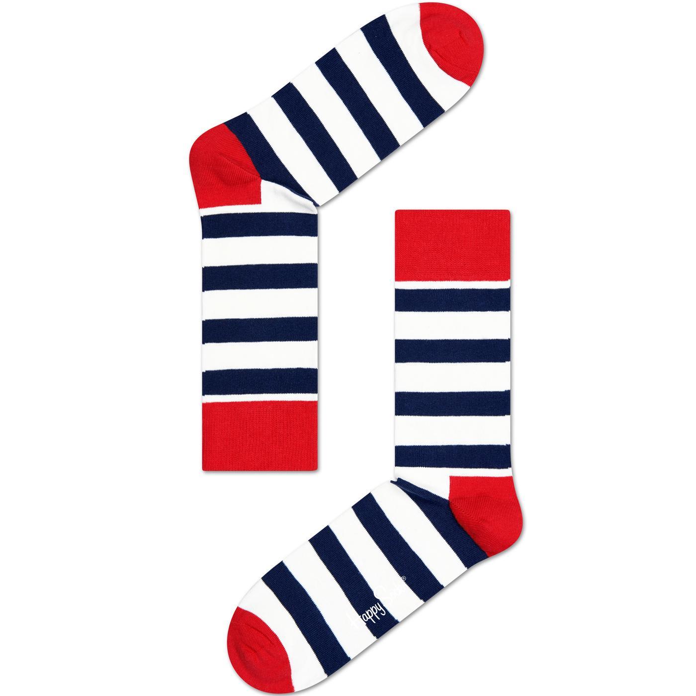 + HAPPY SOCKS Retro Breton Stripe Socks (OW/N/R)