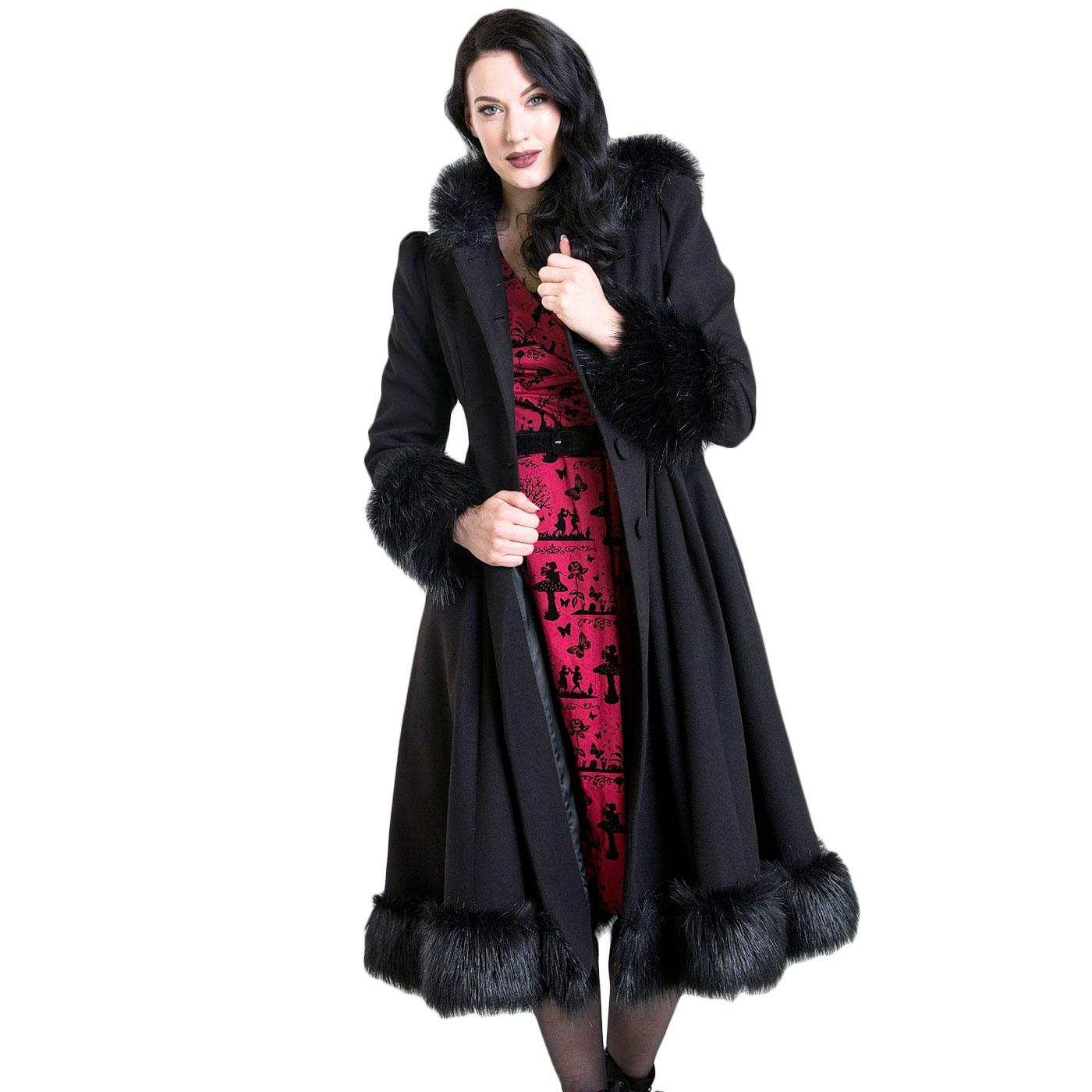 Elvira HELL BUNNY Faux Fur Vintage Coat In Black
