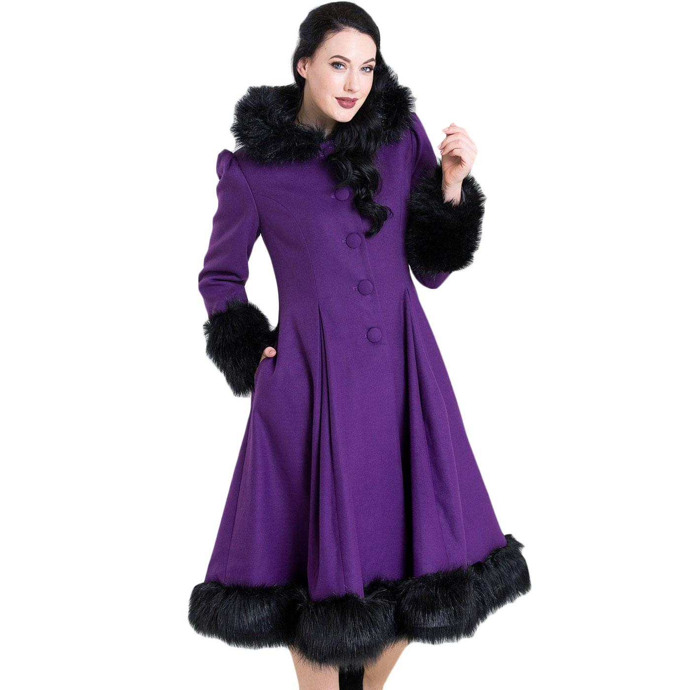 Elvira HELL BUNNY Faux Fur Vintage Coat In Purple