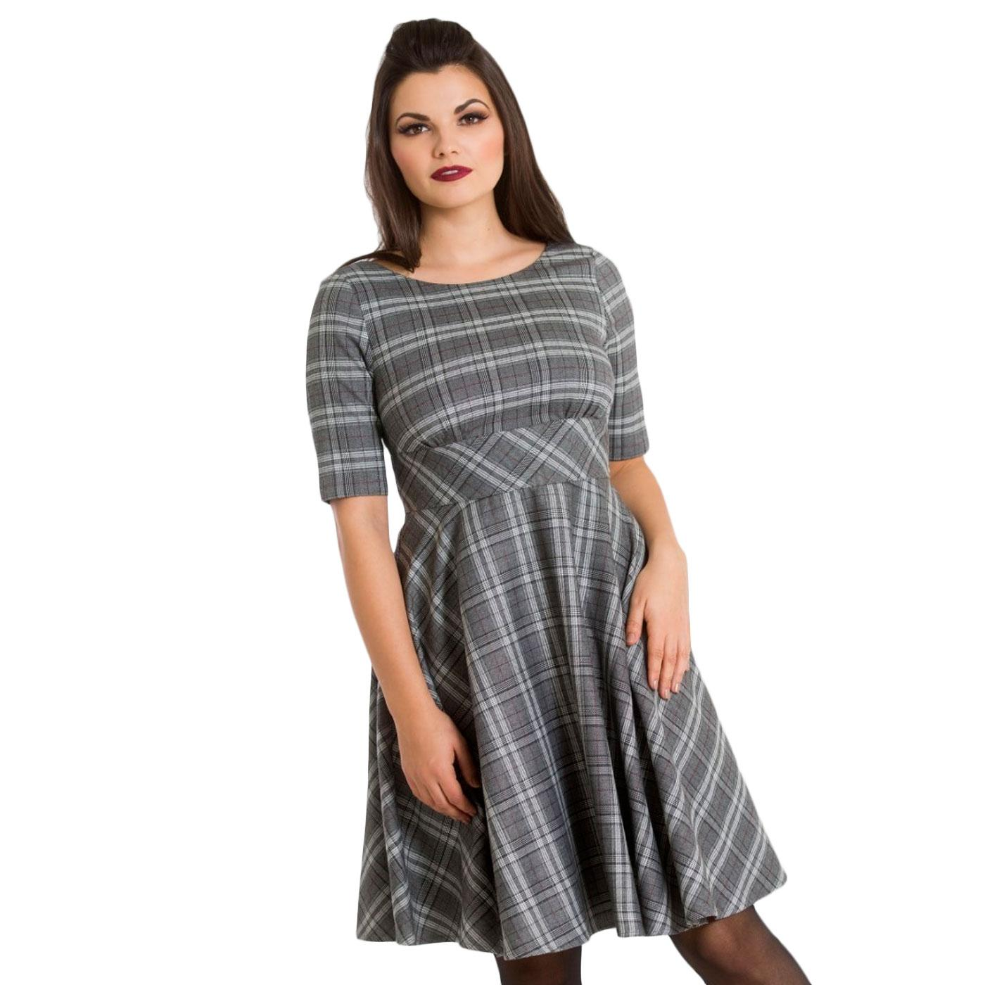 Frostine HELL BUNNY Retro Tartan Plaid Mid Dress