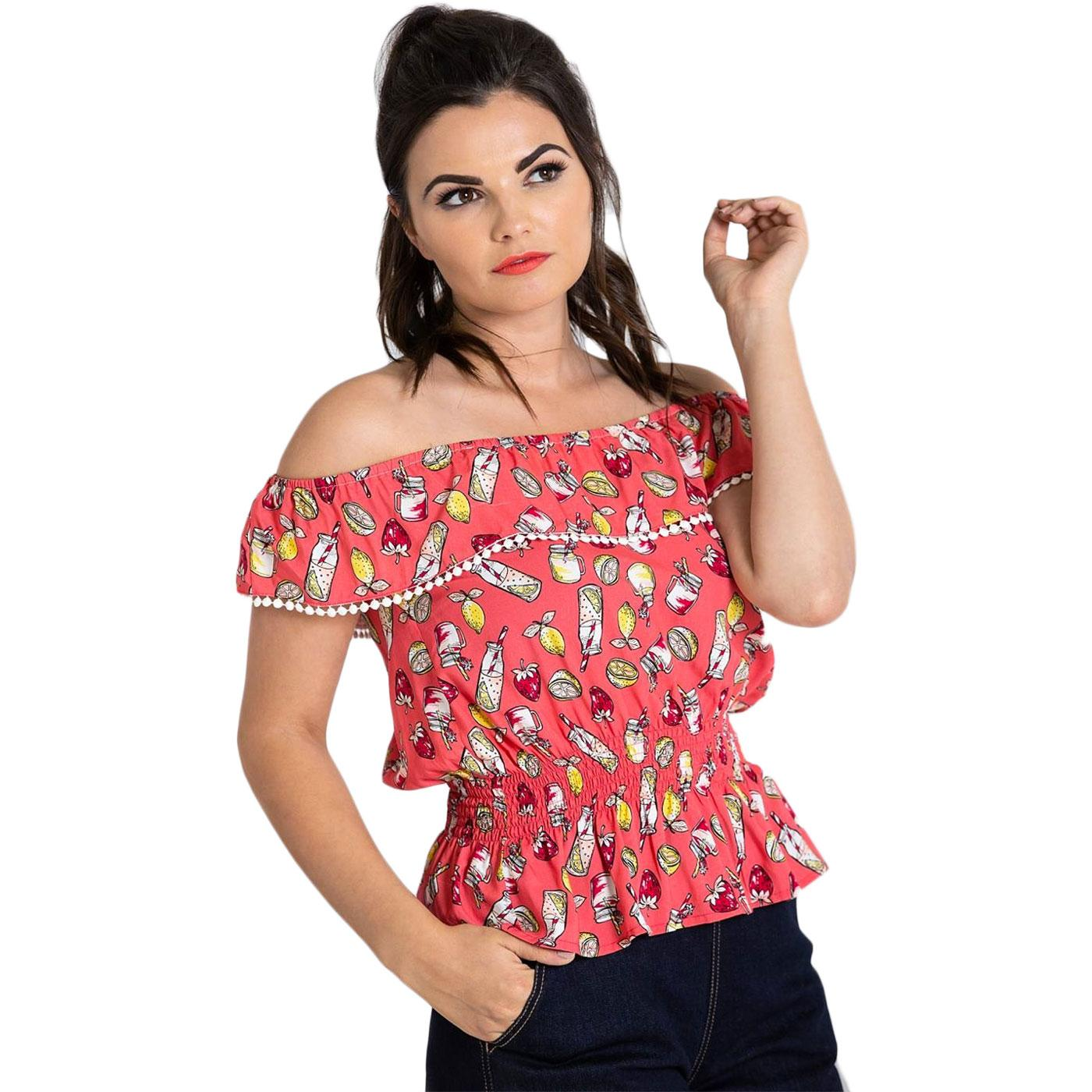 Gin Fizz HELL BUNNY Retro 50s Off The Shoulder Top