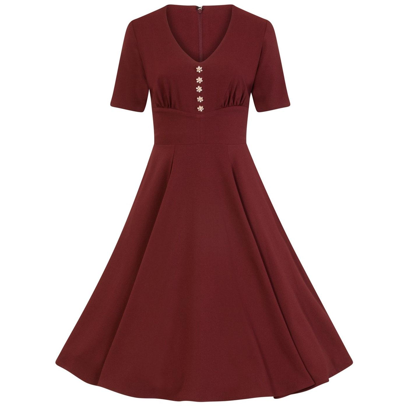 Mila HELL BUNNY 40s Vintage V-neck Dress in Red