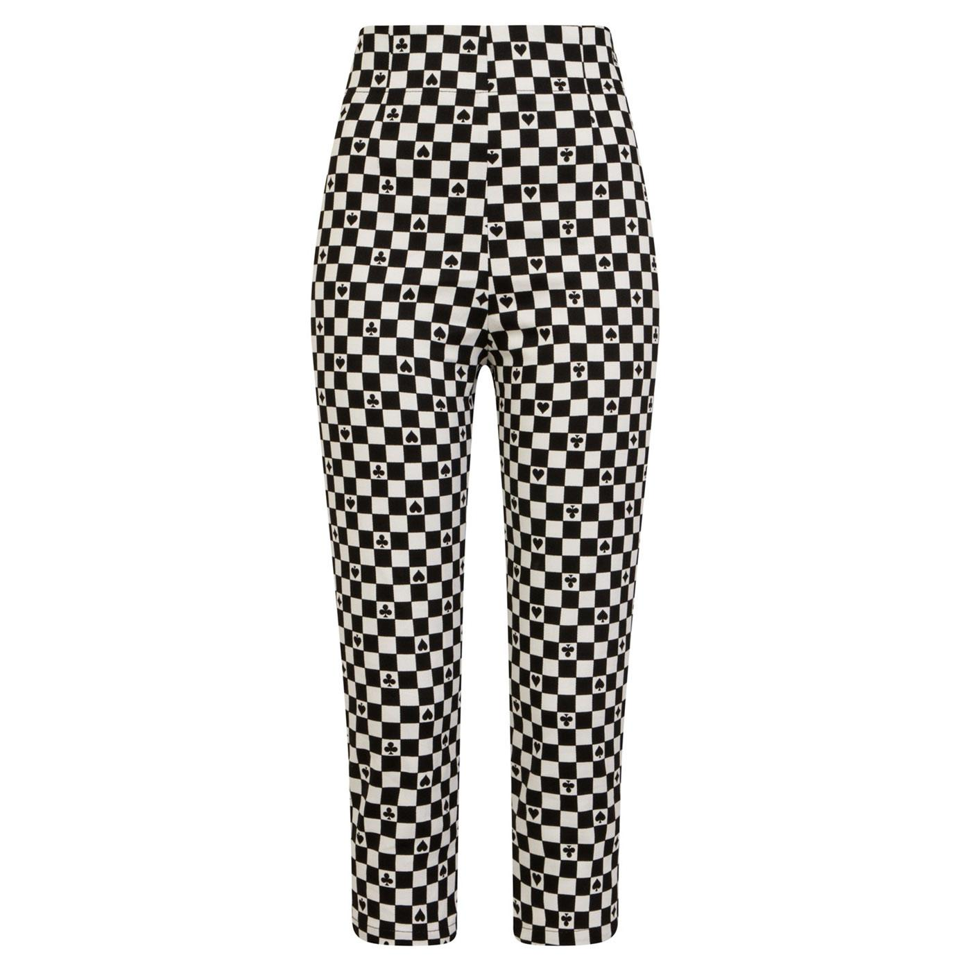 HELL BUNNY Pokerface 60s Mod Checkerboard Capris