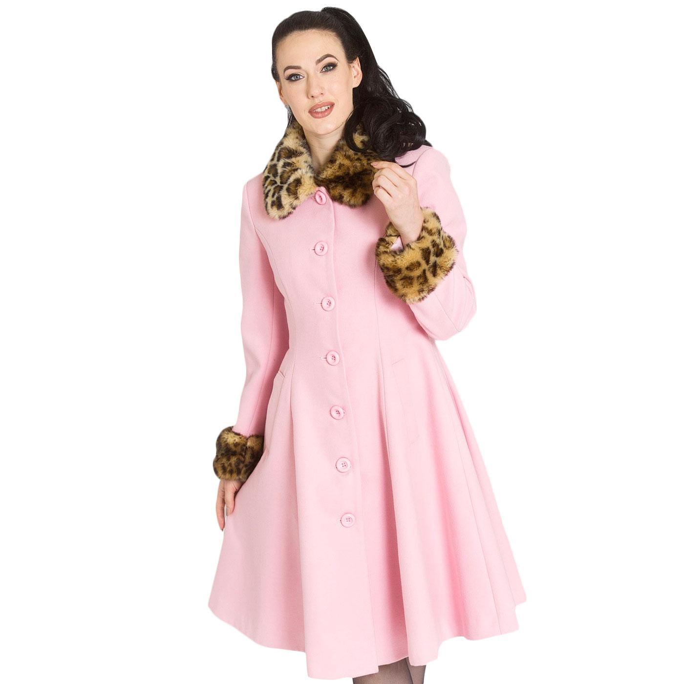 Robinson HELL BUNNY Faux Fur Leopard Collar Coat
