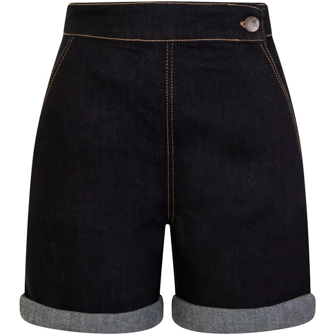 Yaz HELL BUNNY 1950s Vintage High Rise Shorts NAVY