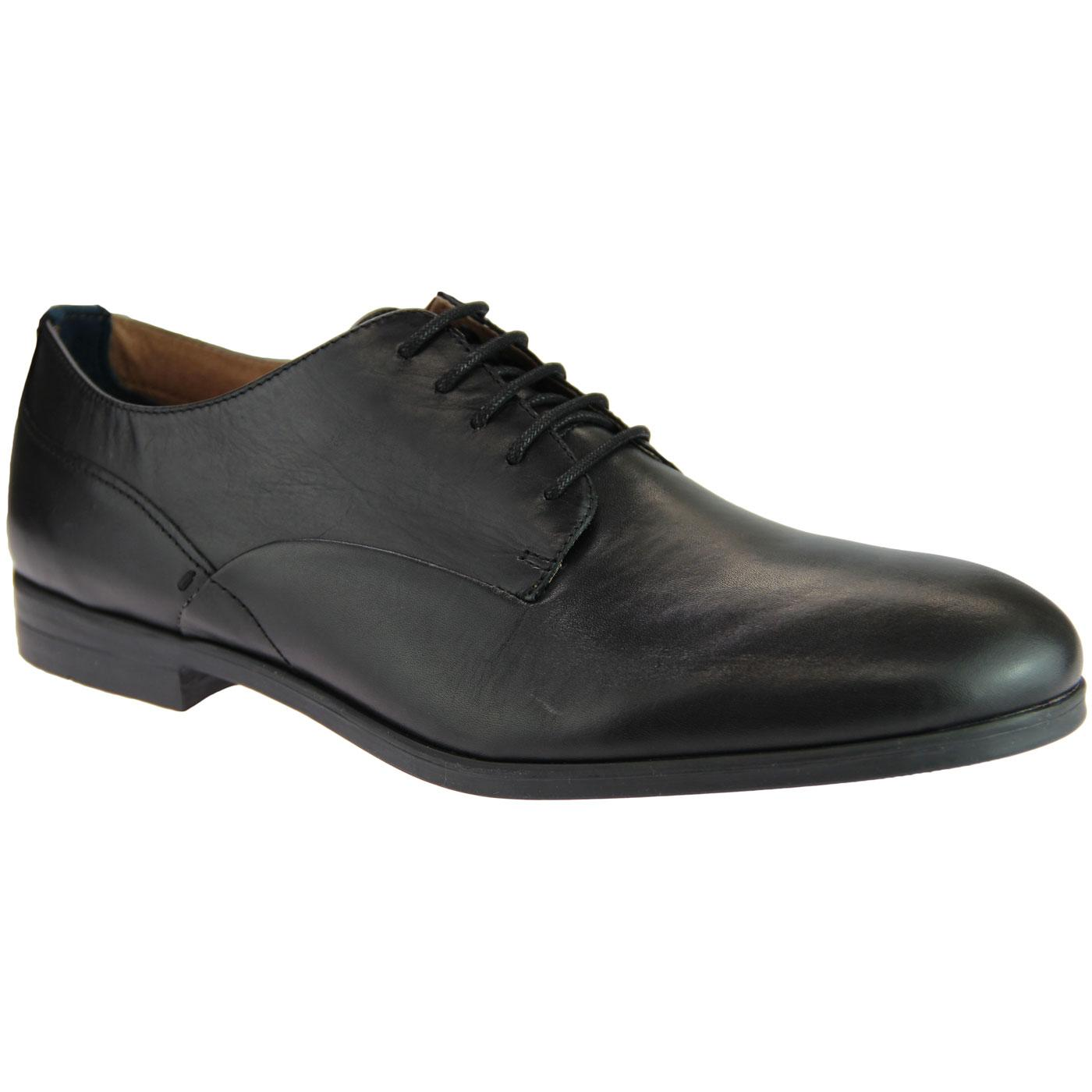 Axminster HUDSON 60s Mod Leather Derby Shoes BLACK