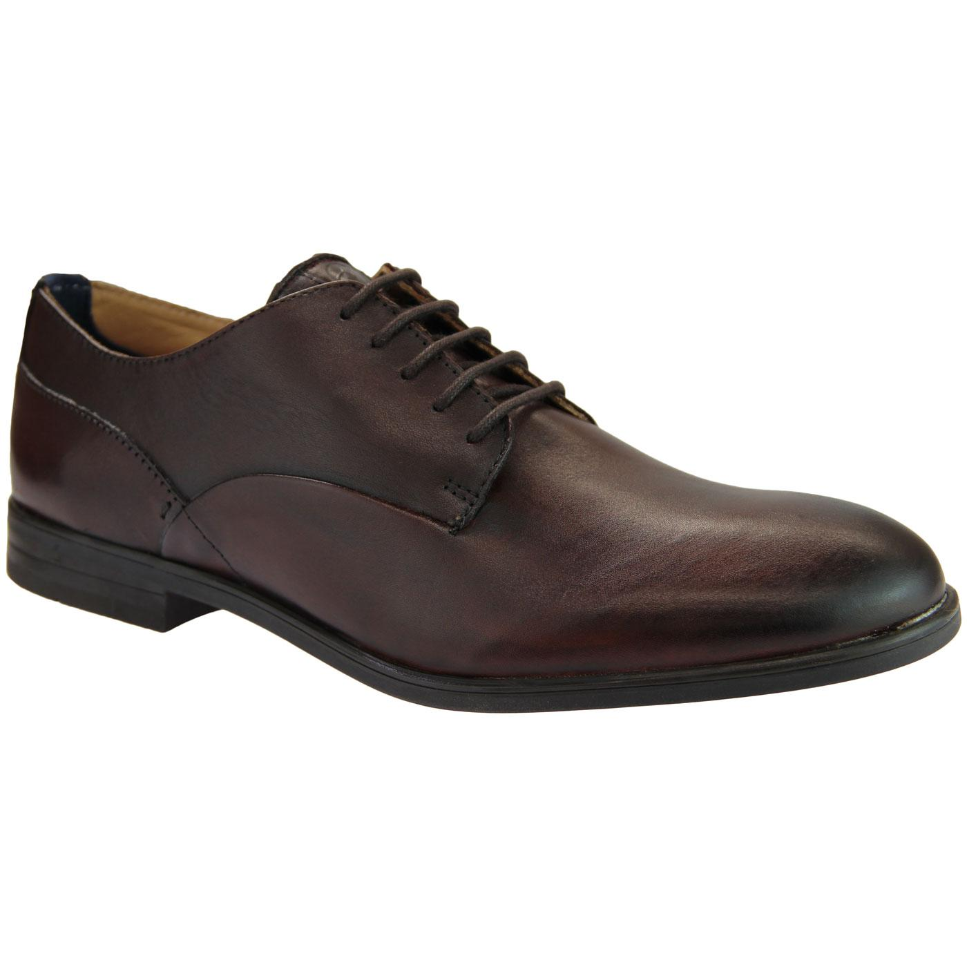 Axminster HUDSON 60s Mod Leather Derby Shoes BROWN